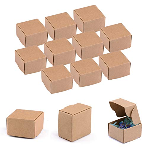 Sdootjewelry 100 Pcs Square Gift Box Mini Brown Kraft Paper Box Decorative Treat Boxes Gift, Soap, Earring, Small Jewelry Candy Crafting Packaging Favor Treat Boxes 1.57 x 1.57 x 0.98inches