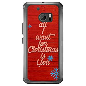 Loud Universe HTC M10 Christmas 2014 All I Want For Christmas is You Printed Transparent Edge Case - Red