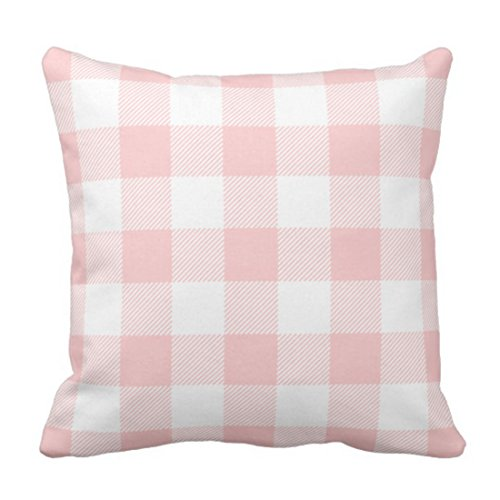 Emvency Throw Pillow Cover Cute Chic Pink Preppy Buffalo Check Plaid Modern Decorative Pillow Case Home Decor Square 20 x 20 Inch Pillowcase
