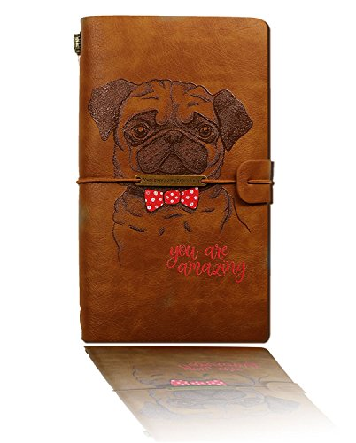 Leather Journal,2018 Newest Dog Vintage Refillable Travelers Notebook with Line Paper+ 1 PVC Zipper Pocket +18 Card Holder for Women 4.7 X 7.9 IN Travel to Write in, Gift for Men & Women-Brown by Sueroom