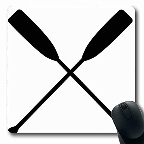 (Ahawoso Mousepads for Computers Cross Two Black Crossed Oars Raster Rowing Sports Recreation Action Activity Boat Boating Nautical Oblong Shape 7.9 x 9.5 Inches Non-Slip Oblong Gaming Mouse Pad)