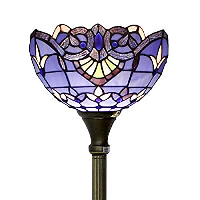 Tiffany Style Torchieres Floor Lamp Table Desk Standing Lighting Blue Purple Baroque Wide 12 Tall 66 Inch Stained Glass Lampshade for Living Room Bedroom Antique Set S003C WERFACTORY