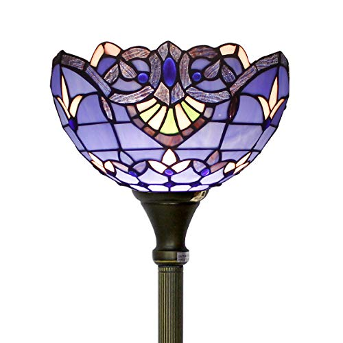 (Tiffany Style Torchieres Floor Lamp Table Desk Standing Lighting Blue Purple Baroque Wide 12 Tall 66 Inch Lavender Stained Glass Lampshade for Living Room Bedroom Antique Set S003C)