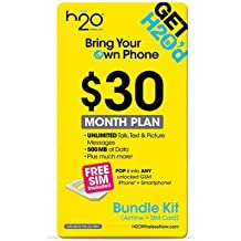 H2O Wireless $30 Plan AT&T Network, Dual Sim Card 4G LTE Unlimited Talk Text $10 Inlt Credit Plus 50 Countries & Unlimited Text Free