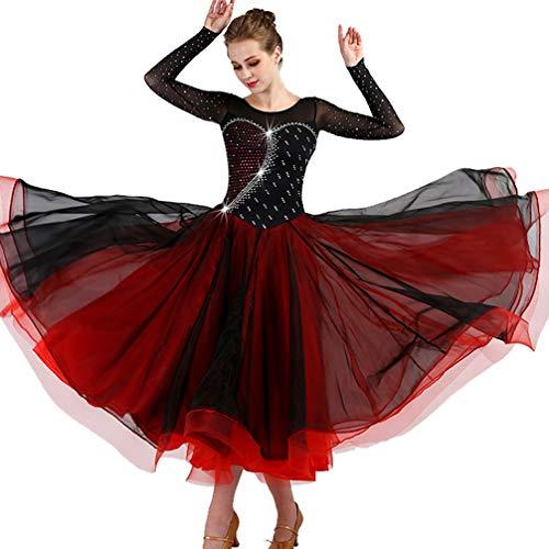 En Concours De Valse Maille Pour Black Tango Moderne xl Avec Wqwlf Perspective Retour Strass Manche Robes Danse Vêtements Femmes Salon Robe wfCvnxqS51