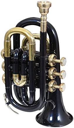Pocket-Trumpet-Black-Colored-Bb-Pitch-with-Free-HandMade-Hard-Case-Mouthpi