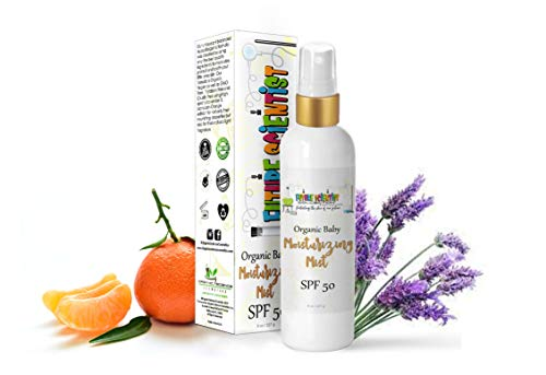 Spray-On Moisturizing Baby Lotion w/SPF 50 Natural & Organic 8oz - Extra Hydrating Mister Spray with Aloe Vera, Mandarin Orange Extract, Lavender Extract, Non-Nano Zinc Oxide-for Dry Skin