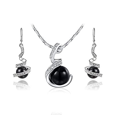 RARITYUS Jewelry Set White Gold Plated Alloy Black Pearl Pendant Necklace Drop Earrings Set for Women Girls