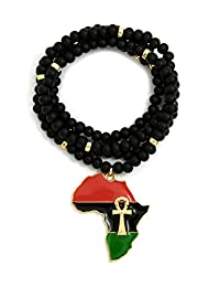 Crown Pan African Colored Africa Map Ankh Pendant w/30 Wooden Bead Necklace