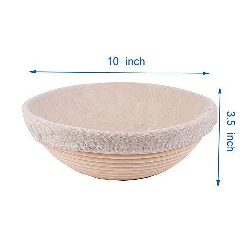 Forsun 1pcs 10(25cm) Round Banneton Brotform Bread Dough Proofing Rising Rattan Basket & Liner