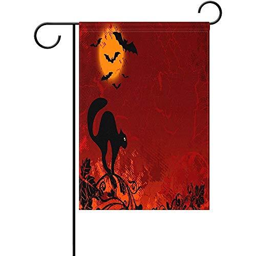 HUVATT Halloween Full Moon Scary Black Cat Bats Garden Flag Double Sized Print Decorative Holiday Home Flag,ES 12 x 18 -