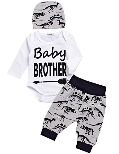 3PCS Baby Boy Outfit Set Baby Brother Dinosaur Romper (White, 3-6 Months)