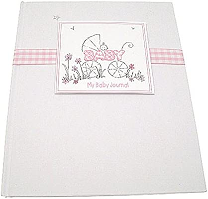 White Cotton Cards - Diario para bebé con texto en inglés, diseño de carrito de bebé, color rosa y blanco