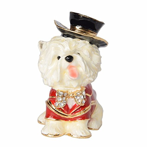 zhenyu Treasured Trinkets Yorkshire Terrier Dog Keepsake Box Metal Jewelry Box Dog Miniature Sculpture Birthday Gift (Metal Terrier Sculpture)