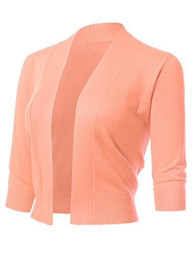 ARC Studio Women's Classic 3/4 Sleeve Open Front Cropped Cardigans (S-XL) L Baby Peach -