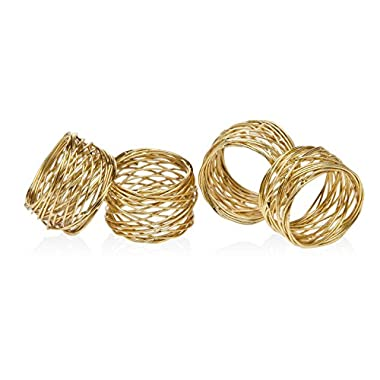 Godinger Silver Art Gold-plated Round Mesh Napkin Holder Rings, 2 Inch, Set of 4