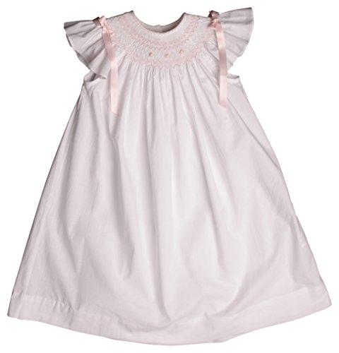 Strasburg Children Toddler Girls' Lilly Smocked Bishop Flower Girl Dress White Pink Birthday Gift (3)