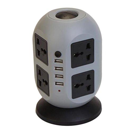 ICOCO 110V-250V 2500W Säulenförmige Feuerfeste ABS Kupferkabel Überspannungsschutz Steckdosenleiste mit 8 Fach, 4 USB-Ladeausgänge und Schalter (Schwarz-Grau)