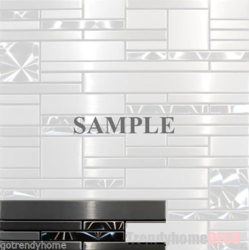 SAMPLE- Stainless Steel Metal pattern Mosaic Tile Kitchen Backsplash Wall Sink by Unknown
