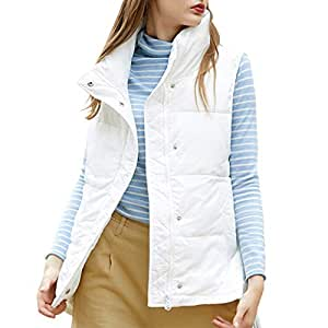 Women's Casual Vest, Stand Collar Sleeveless Zipper Gilet with Pockets, Autumn and Winter Down Cotton Jacket (Color : White, Size : M)