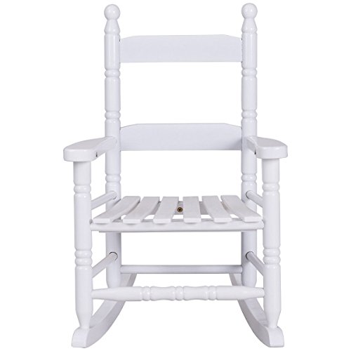 Classic White Wooden Children Kids Rocking Chair Slat Back Furniture Bedroom by onestops8