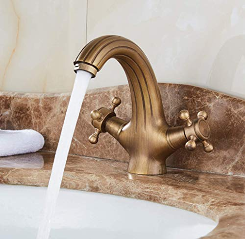 (Classic Polished Brass Kitchen Taps for Kitchen Sink Brass Single Lever Square Mono Kitchen Sink Mixer Tap Swiveling Spout Kitchen Faucet,A)