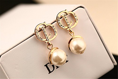 P.phoebus 18K White Pearl Yellow Gold Plated Vintage Swarovski Crystal Studs Earrings Rhinestones Dangle Charms Hoops for Women Girls (9)