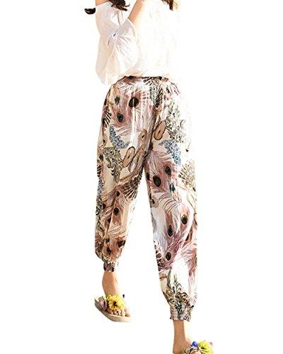 Multi Baggy Waist Harem Elastica Tempo Tendenza Khaki Lunga Stile Donna Trousers Ragazze Con Stoffa Modern Vita tasca Pattern Libero Pantaloni Di Stampate Estivi High fZndq6zzx