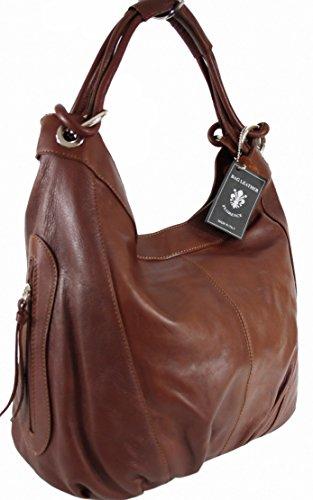 Sa-Lucca echt Leder Handtasche Damentasche Shopper Beuteltasche Ledertasche braun486528 MADE IN ITALY