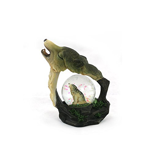 unison gifts YJF-555 4.5 INCH Howling Wolf WATERGLOBE, Multicolor (Wolf Water Globe)