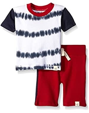 Boys' Organic Tie Dye Stripe Tee and Short Set
