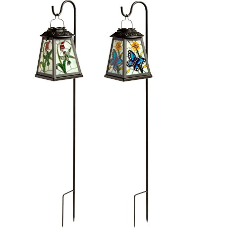 - Set of 2 -SunRays Mosaic Solar Lantern- (Butterfly and Hummingbird)