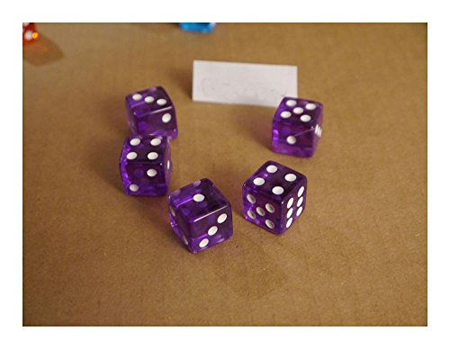 NEW Set of Purple Transparent 16mm Dice 5 Purple D6 RPG Bunco Home CASINO Games Popular toys