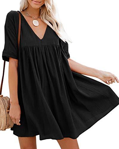 Hestenve Women's Short Sleeve V Neck Pleated Babydoll Solid Color Tunic Party Swing Mini Dress Black Pleated V-neck Dress