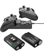 Smatree Caricabatterie Doppia stazione di ricarica con 2 batteria ricaricabile per Xbox One / Xbox One S / Xbox One X / Xbox One Elite Wireless Controller