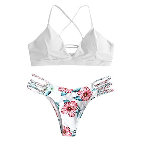 Funnygals Women Bikini Set Two Piece, Sexy Triangle Floral Leaf Padded Cut Out Swimsuit for Ladies Swimming Costume White - Embellished Triangle Bikini