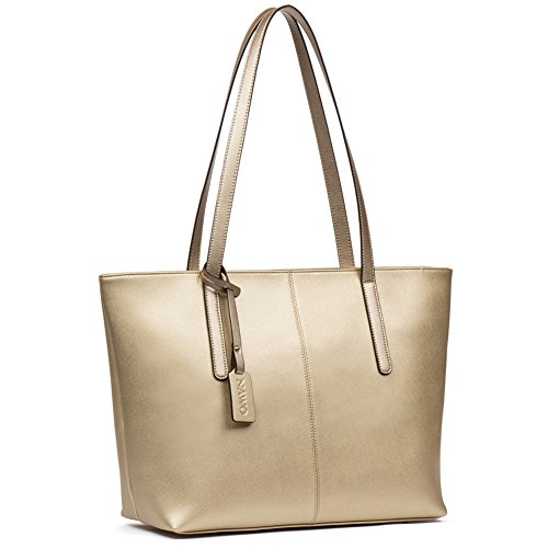 Stylish Designer Handbags - NAWO Women's Leather Designer Handbags Shoulder Tote Top-handle Bag Clutch Purse Large Champagne