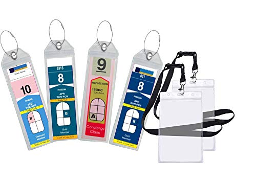Cruise Luggage Tag Holder Zip Seal & Steel - Royal Caribbean & Celebrity Cruise (4 Pack + 2 ID Holders) - Folding Clasp Tag