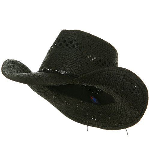 MG Womens Straw Outback Toyo Cowboy Hat, Black