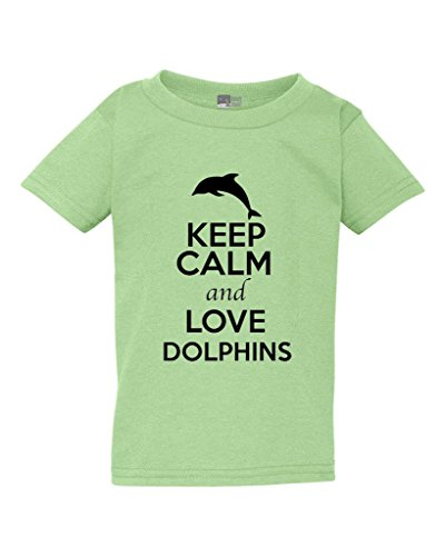 (Keep Calm and Love Dolphins Fish Ocean Animal Lover Toddler Kids T-Shirt Tee (3T, Mint Green w/Black))