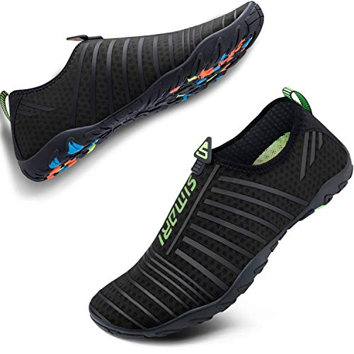 SIMARI Womens Mens Sports Water Shoes Quick Dry Barefoot for Swim Diving Surf Aqua Pool Beach Walking Yoga 101 Black 9.5W/8.5M