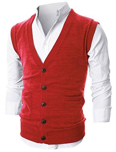 Ohoo Mens Slim Fit V-Neck Button-Front Vest With Pockets