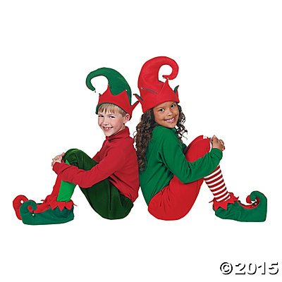 Santa's Helpers Elf Elves Shoes & Hat Costume
