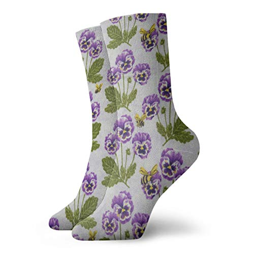 - WEEDKEYCAT Purple Pansies Bees Adult Short Socks Cotton Cool Socks for Mens Womens Yoga Hiking Cycling Running Soccer Sports