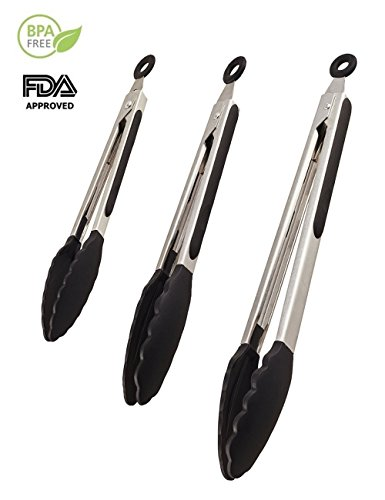 Review Of Jason&Aerobic Premium Stainless Steel Food Tong Sets with Heat Resistant Silicone Grips an...