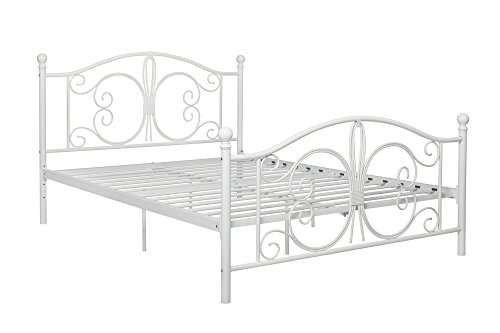 DHP Bombay Metal Bed Frame, Vintage Design and Includes Metal Slats, Full Size, - Vintage Frame White