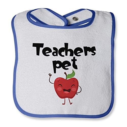 Teacher'S Pet Cotton Boys-Girls Baby Terry Bib Contrast Trim - White Royal Blue, One Size
