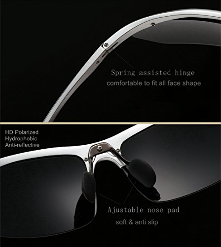 769fcf6f14 LUOMON LM3129 Black Frame Grey Lens Polarized Wrap-Around Sport Sunglasses