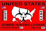 Zombie Hunting License Permit Red United States - Biohazard Response Team Automotive Car Window Locker Bumper Sticker