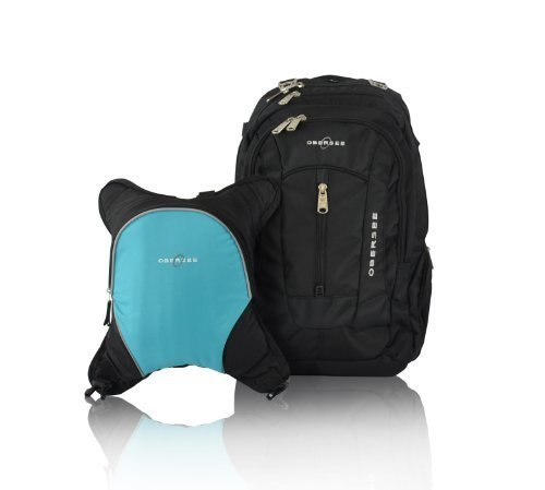 Obersee Bern Diaper Bag Backpack with Detachable Cooler, Black/ Turquoise by Obersee by Obersee